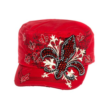 Cotton Rhinestone Fleur de Lis Military Cadet Cap - Black Cowgirl Hat With Rhinestones