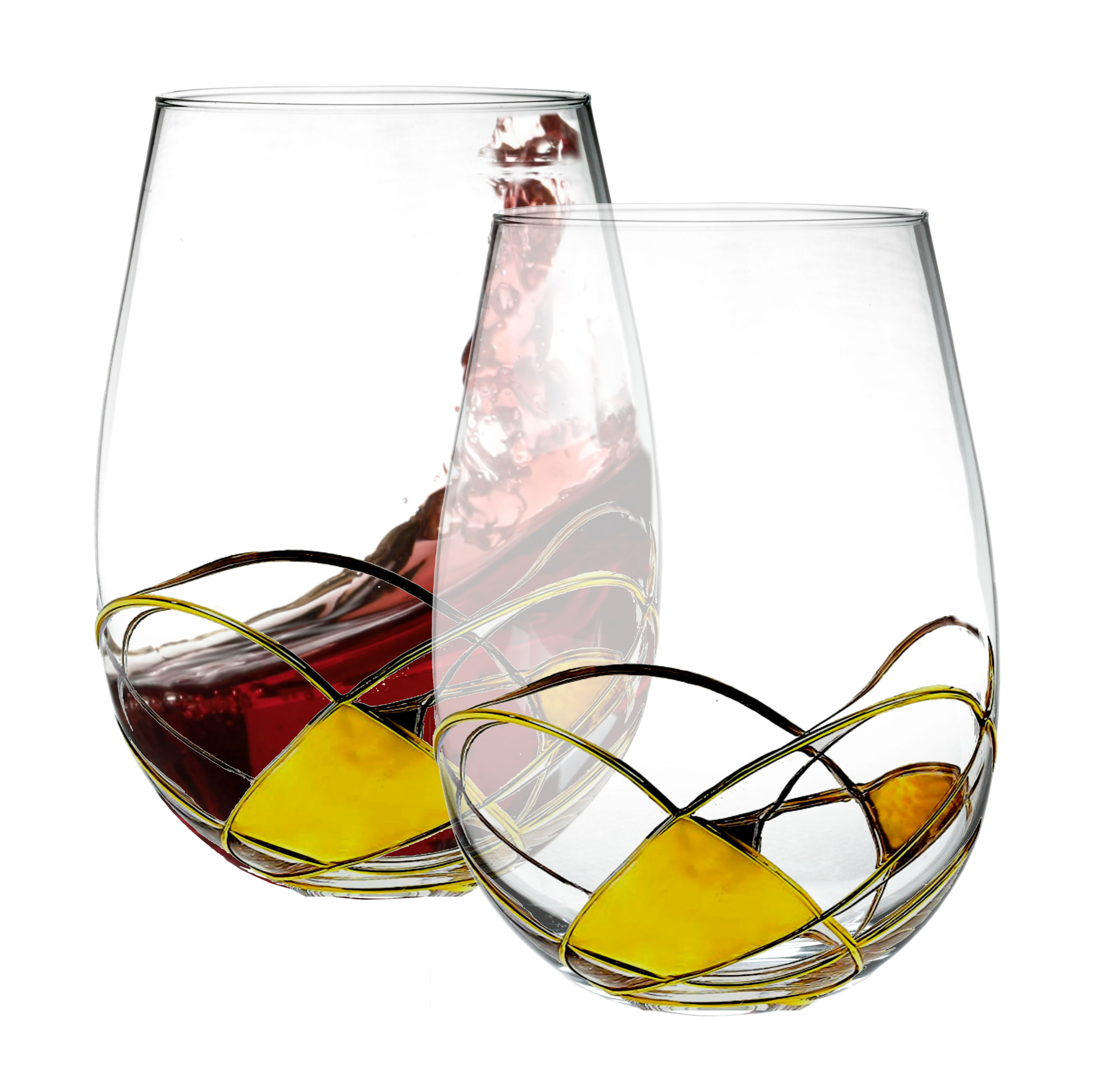 Bezrat Stemless Wine Glasses Set Of Two Hand Painted Large Premium Red And White Lead Free Crystal Essential Gift 18 Ounces Gold Walmart Com