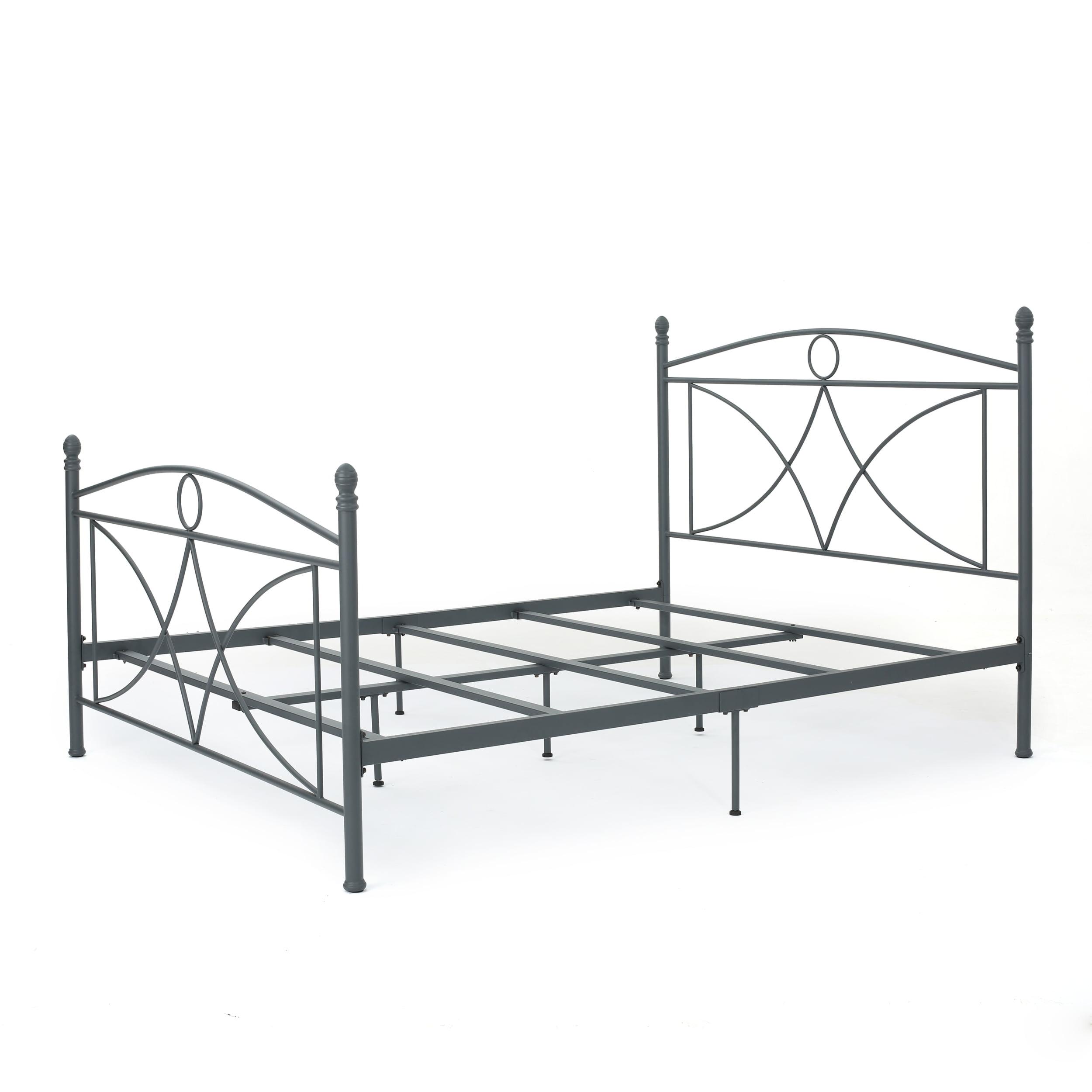 Delphina Classical Iron Queen Bed Frame, Matte Dark Grey