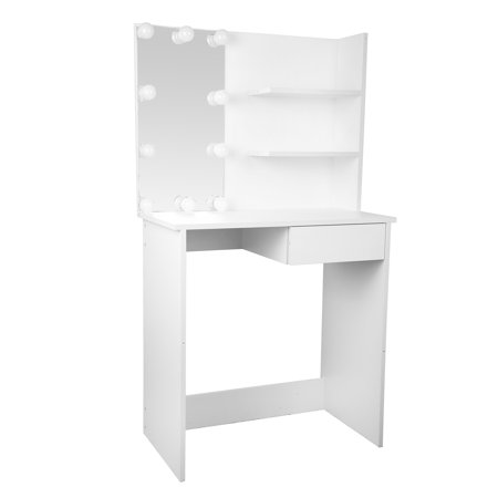 Felicia - Dressing Room Style Makeup Table with Built-In Lights - 50s Style Makeup