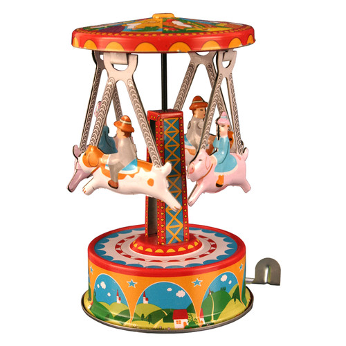 "Alexander Taron Home Decoration Collectible Tin Toy - Carousel with Dogs - 4.5""""H x 2.5""""W x 2.5""""D"