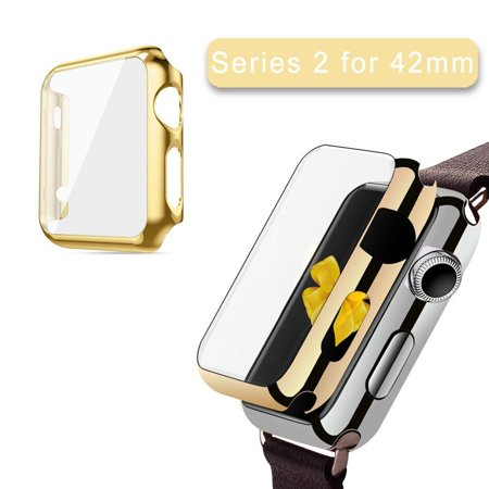 Apple Watch Series 2 Case 42Mm Iclover Full Cover Apple Watch Series 2 Nike Case Slim Hard Pc Plated Protective Bumper Cover   0 2Mm Shockproof Screen Protector For Iwatch 2016  Gold