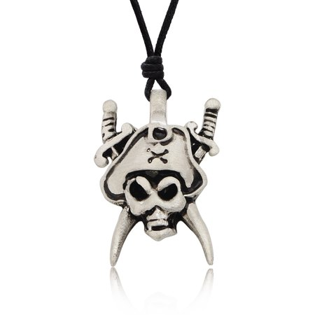 Original Pirate Silver Pewter Charm Necklace Pendant Jewelry With Cotton Cord