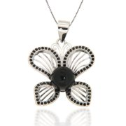 Pearlz Ocean  Black Onyx and Black Spinel Butterfly Pendant Necklace