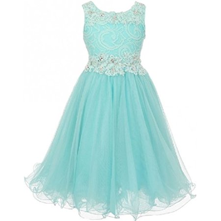Big Girls' Elegant Sleeveless Lace Mesh Rhinestone See Through Pageant Flowers Girls Dress Aqua 10 (CC50C10)