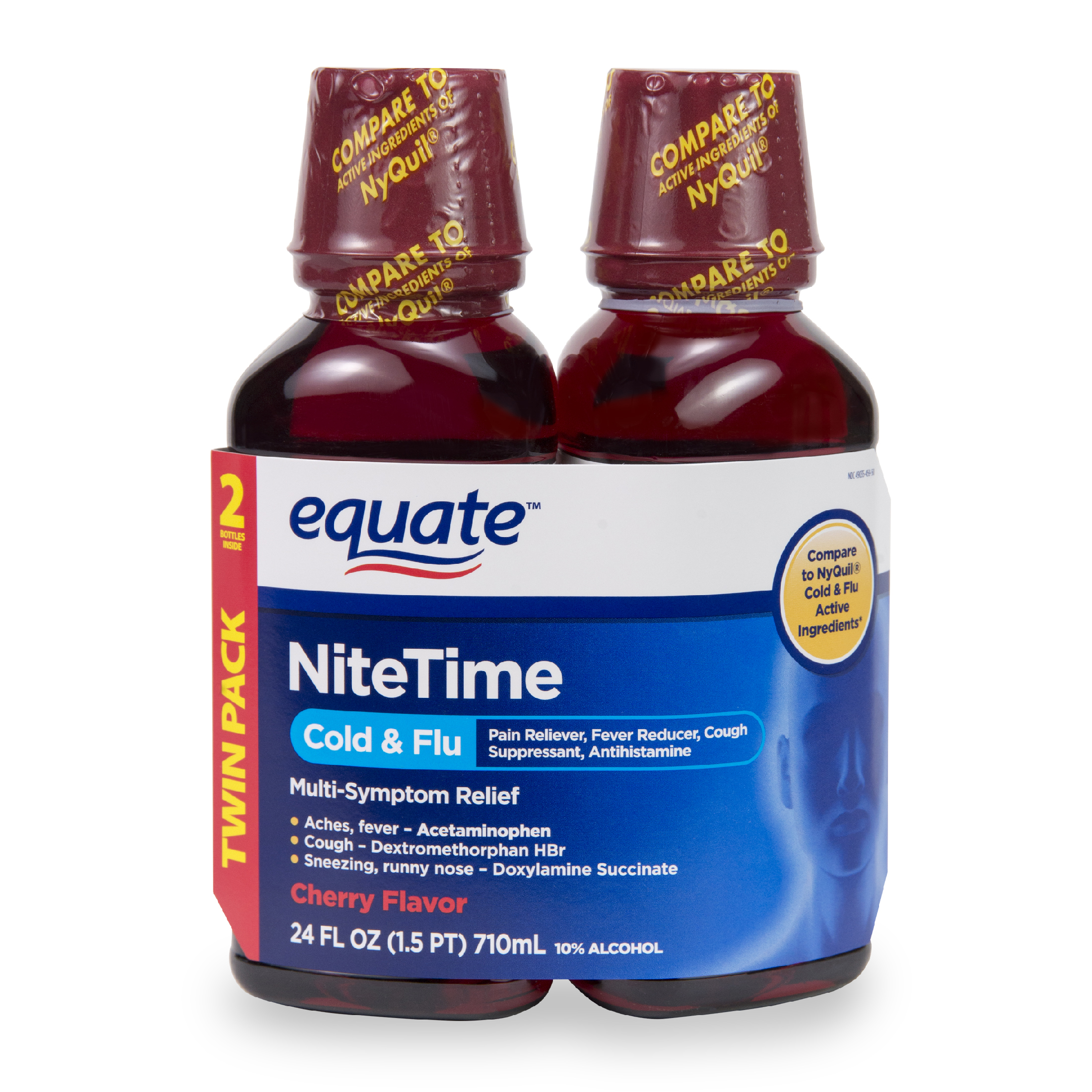 Equate Nitetime Cold & Flu Relief Liquid, Cherry, 12 Oz, 2 Pk