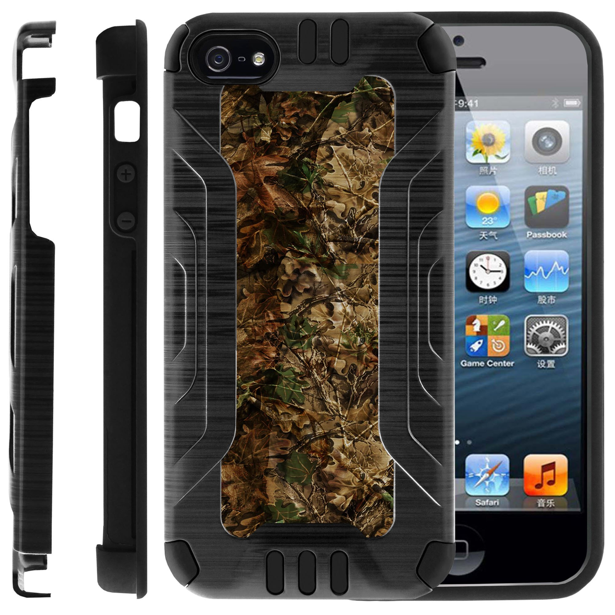 Apple iPhone 5 | 5s | SE Hybrid Case, [ PRO-Tech Shield] Brushed Metal Finish Case Dual Layer Gel and Hard Plastic Cover by MINITURTLE- Hunting Leaves Camo