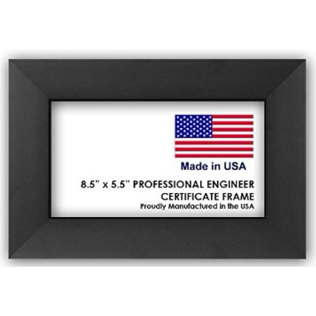 Natural Steel Frame - Professional Engineer License Certificate Wood Frame - 8.5 x 5.5 Inches