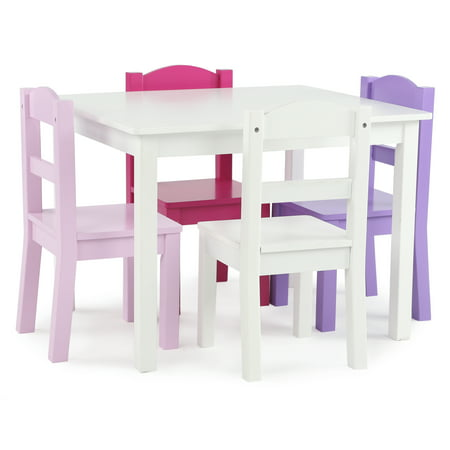 5pc Friends Collection Wood Table and Chairs Set White - Humble Crew