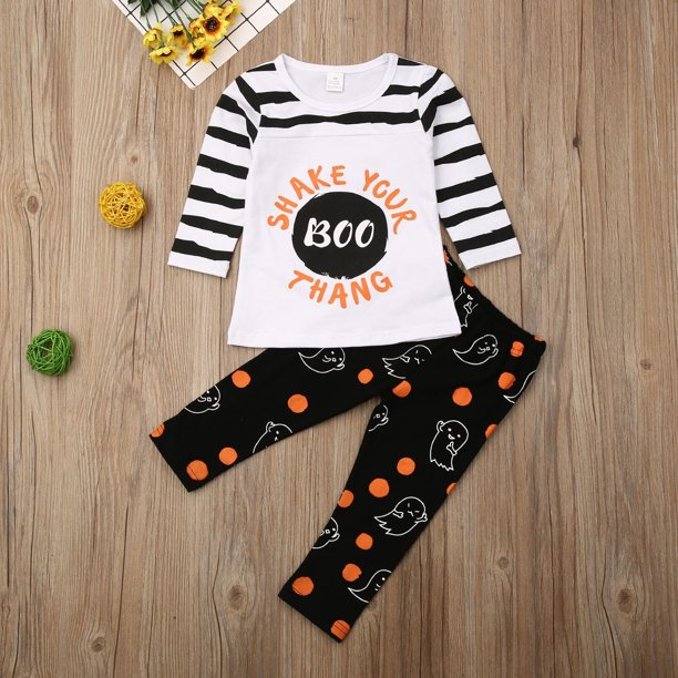 Toddler Kids Baby Girls Clothes Cotton T Shirt Tops Pants Halloween Outfits Set Walmart Com Walmart Com