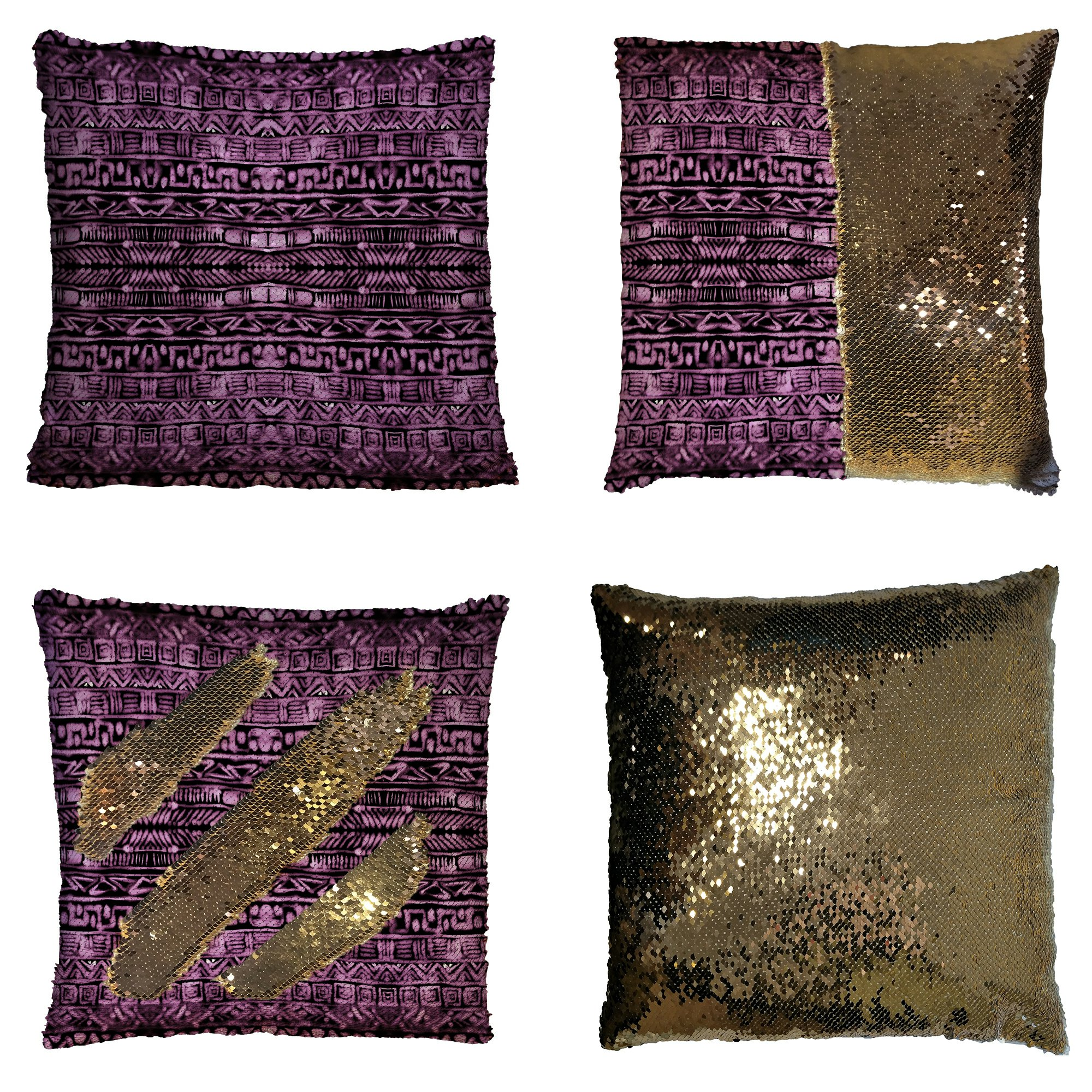 GCKG Watercolor Pillowcase, Abstract Aztec Pattern Purple Reversible Mermaid Sequin Pillow Case Home Decor Cushion Cover 16x16 inches