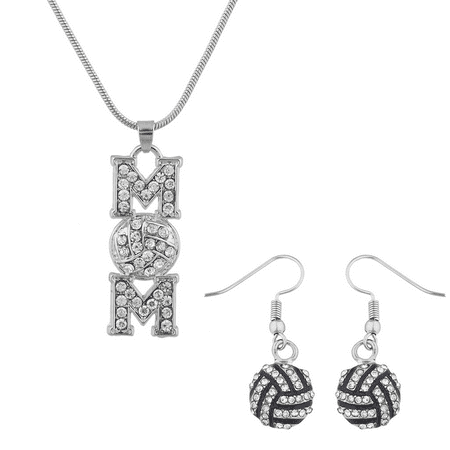 Lux Accessories Silver Tone Mom Volleyball Rhinestone Sports Jewelry Set (Volleyball Mom Rhinestone)