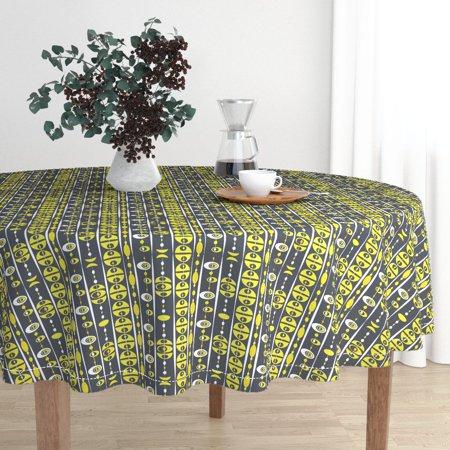 Round Tablecloth Mod Mcm Groovy Citron Retro Beads 70 S Cotton Sateen