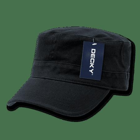 f67eb6ed Decky Flex Cadet Flat Top Cotton Military Army Cap Caps Hat Hats For Men  Women Black - Walmart.com