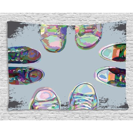Modern decor tapestry teen rubber rebel rocker shoes in street squad friends gang abstract for Decor ingang