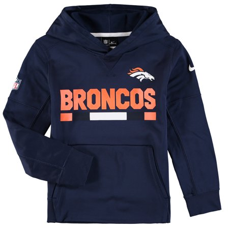 newest 5ae97 68e39 Denver Broncos Nike Youth Performance Pullover Hoodie - Navy ...