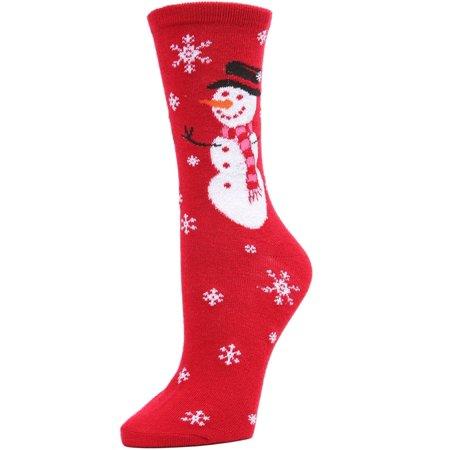 Memoi Snowman Hat Crew - Cute Winter Novelty Socks for Women by MeMoi One Size 9-11 / Tango Red MF7 982 (Red Hat Socks)