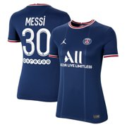 Lionel Messi Paris Saint-Germain Jordan Brand Women's 2021/22 Home Breathe Stadium Replica Player Jersey - Blue