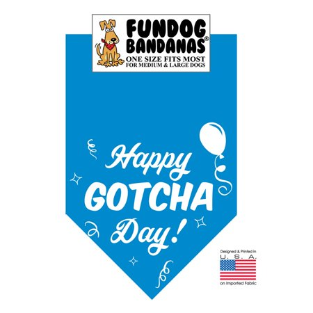 Fun Dog Bandana - Happy Gotcha Day! - One Size Fits Most for Medium to Large Dogs, turquoise pet (Dog Bandanna)