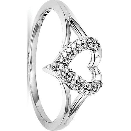 Sterling Silver Rhodium Diamond Heart Ring - image 2 of 2