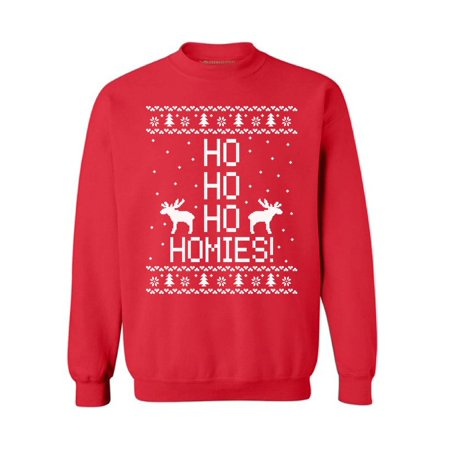 Awkward Styles Ho Ho Ho Homies Christmas Sweatshirt Ho Ho Ho Christmas Sweater Xmas Gifts Christmas Sweatshirt for Men for Women Reindeer Ugly Christmas Sweater Funny Christmas Sweater Party Holiday (Funny Ugly Sweaters)