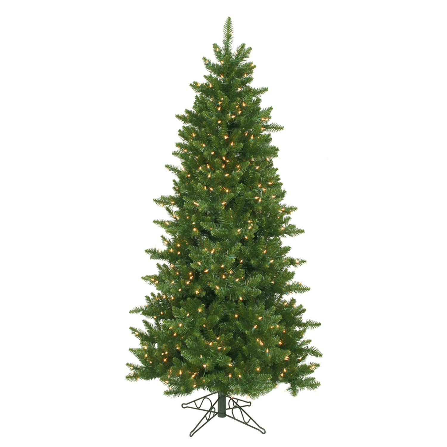 6.5' Pre-Lit Eastern Pine Slim Artificial Christmas Tree ...