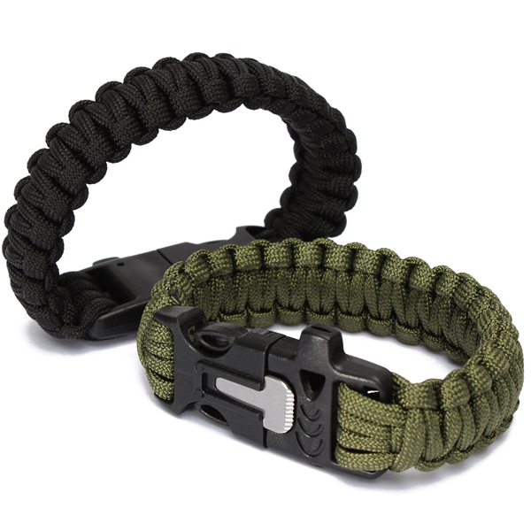 9'' Survival Paracord Bracelet with Flint Fire Starter Scraper Whistle Gear Kits