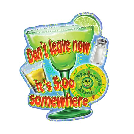 Margarita Time It's 5:00 Somewhere [3 Pack] of Vinyl Decal Stickers | 5