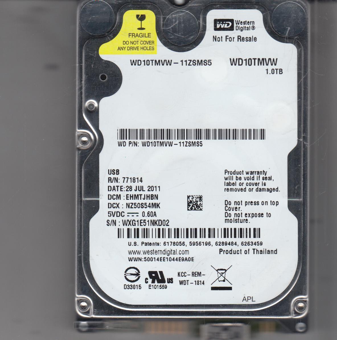 WD10TMVW-11ZSMS5, DCM EHMTJHBN, Western Digital 1TB USB 2.5 Hard Drive
