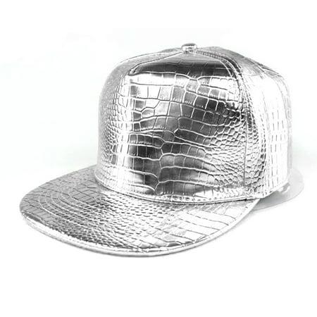 Alligator Grain Snapback Cap Men Women Girl Leather Hip Hop Baseball Cap Solid Color Summer Unisex Hat