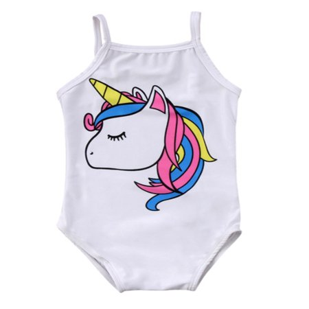 stylesilove Baby Girl Unicorn Print One-Piece Swimsuit Beachwear Bathing Suit 3 Colors (110/2-3 Years, White)