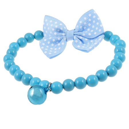 Unique Bargains Elastic String Jingle Bell Plastic Beads Cat Dog Collar Necklace Blue