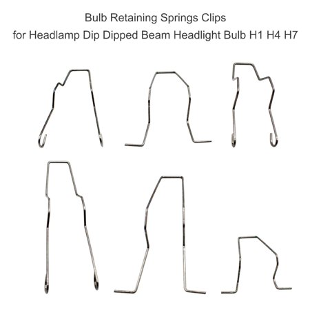 Bulb Retaining Springs Clips for Headlamp Dip Dipped Beam Headlight Bulb H1 H4 H7