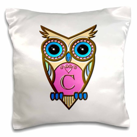 Rose Gorgeous Pink And Blue Owl Monogram Letter C Pillow Case 16 By Inch