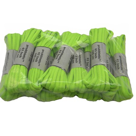 48 Inch 122 cm Bright Neon Green proATHLETIC™ OVAL 6mm TEAMLACES™ sneaker shoelaces BULK PAC -(12 Pair - Lighted Shoelaces