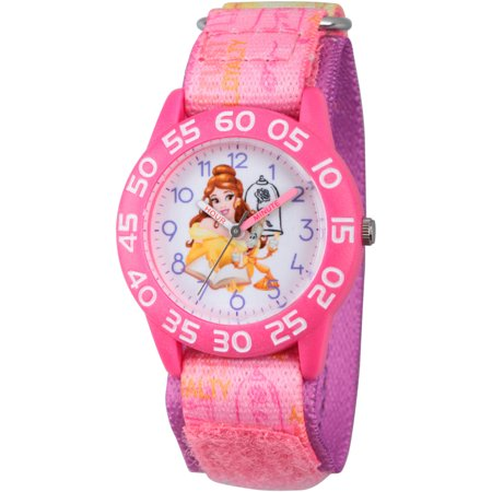 Disney Princess Belle Girls Pink Plastic Time Teacher Watch  Pink Stretchy Nylon Strap With Printed Belle