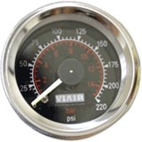 "2"" Dual Needle Gauge (Black Face, Illuminated, 220 PSI)"