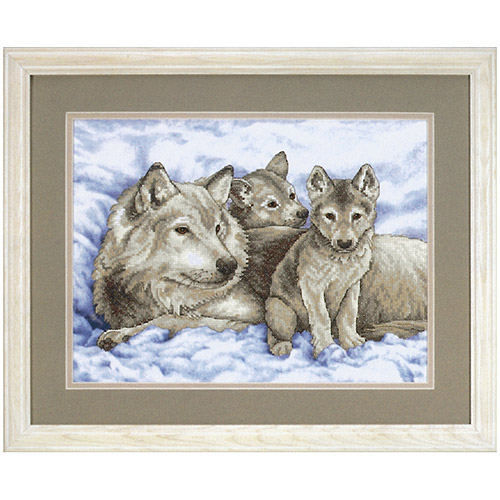 "Dimensions ""Mother Wolf and Pups"" Stamped Cross Stitch Kit, 16"" x 12"""