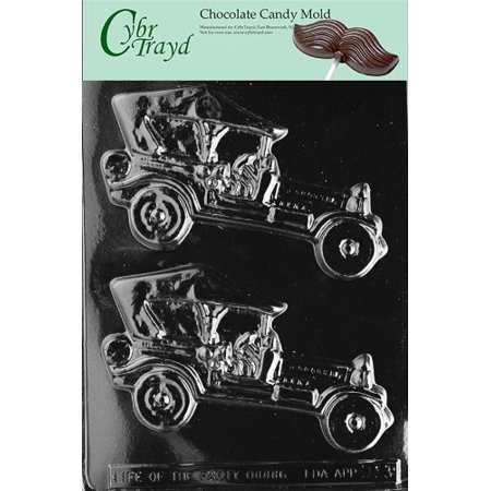 Cybrtrayd Life of the Party D013 Antique Cars Jalopy Classic Chocolate Candy Mold in Sealed Protective Poly Bag Imprinted with Copyrighted Cybrtrayd Molding - Chocolate Cars