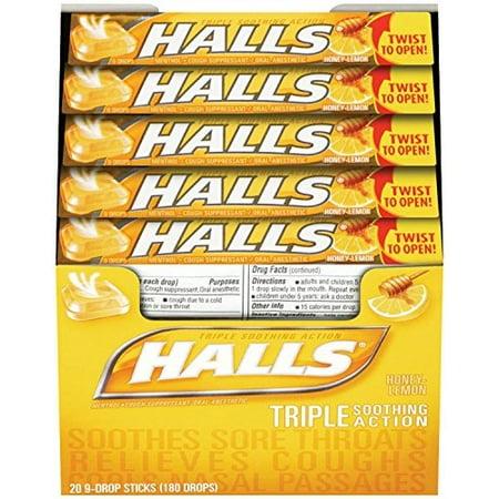 3 pack halls triple soothing action honey lemon cough drops 20 9 drop sticks ea. Black Bedroom Furniture Sets. Home Design Ideas