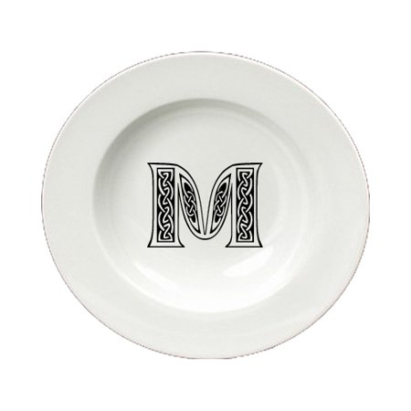 Letter M Initial Monogram Celtic Round Ceramic White Soup Bowl CJ1059-M-SBW-825](Round Monogram)