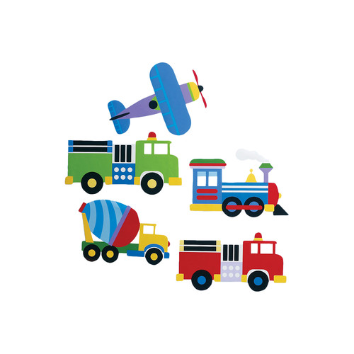 "Wallies Peel & Stick Olive Kids Trains, Planes & Trucks, 2 sheets 15.5"" x 19.5"""