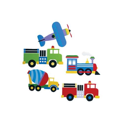 """Wallies Peel & Stick Olive Kids Trains, Planes & Trucks, 2 sheets 15.5"""" x 19.5"""""""