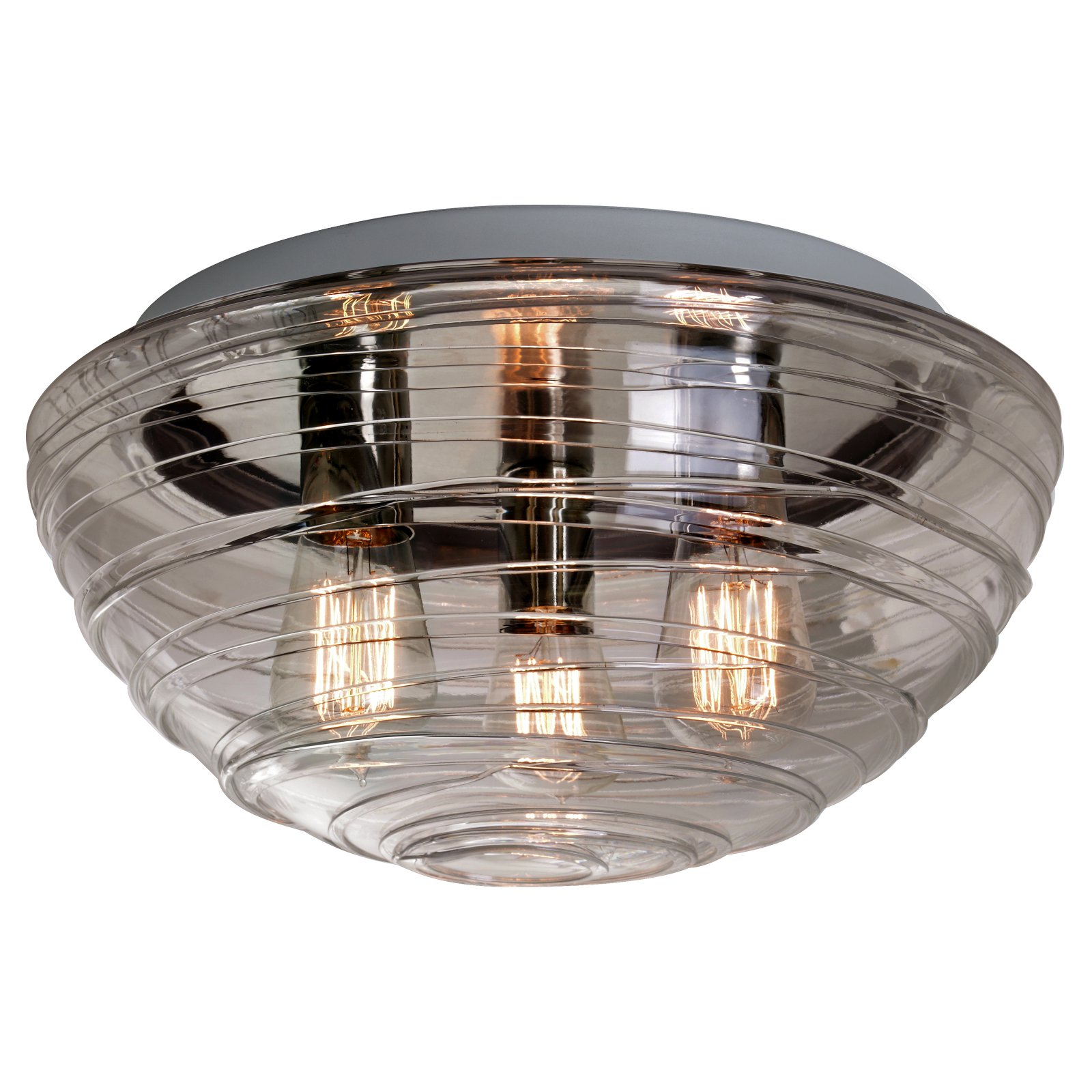 Besa Wave 15 Ceiling Flush Mount Light with Smoke Glass