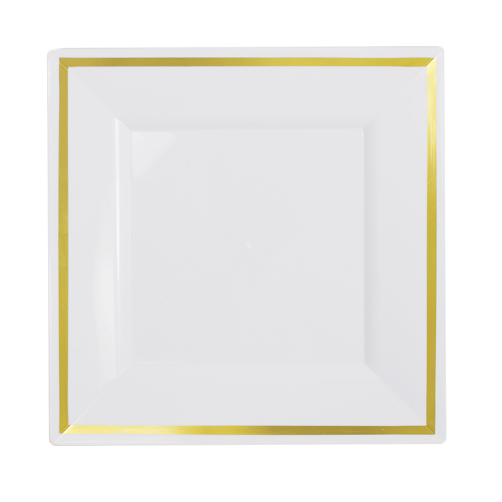 Exquisite Wedding & Party Dinnerware, Disposable Plastic Square Dinner Plates (9.5 Inch) - White with Gold Rim - 40 Pack