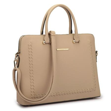 Lined Top Zip Briefcase (Dasein  Front Stitching Women's Shoulder Briefcase )