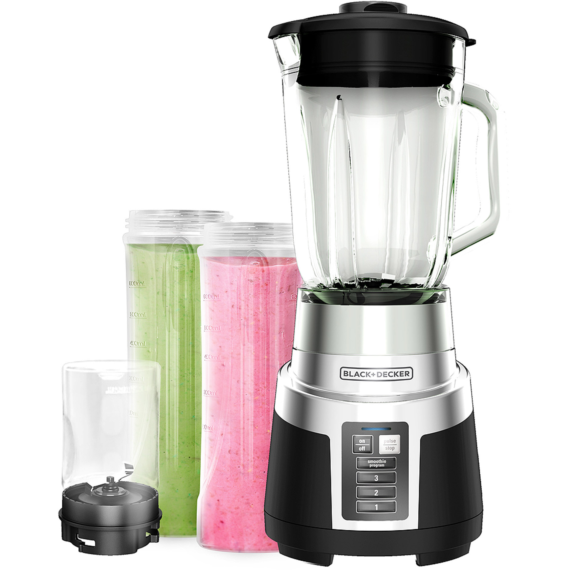 BLACK+DECKER FusionBlade Blender with 2 Personal-Size Jars and Grinding Jar, BL1830SG-3P by Black & Decker