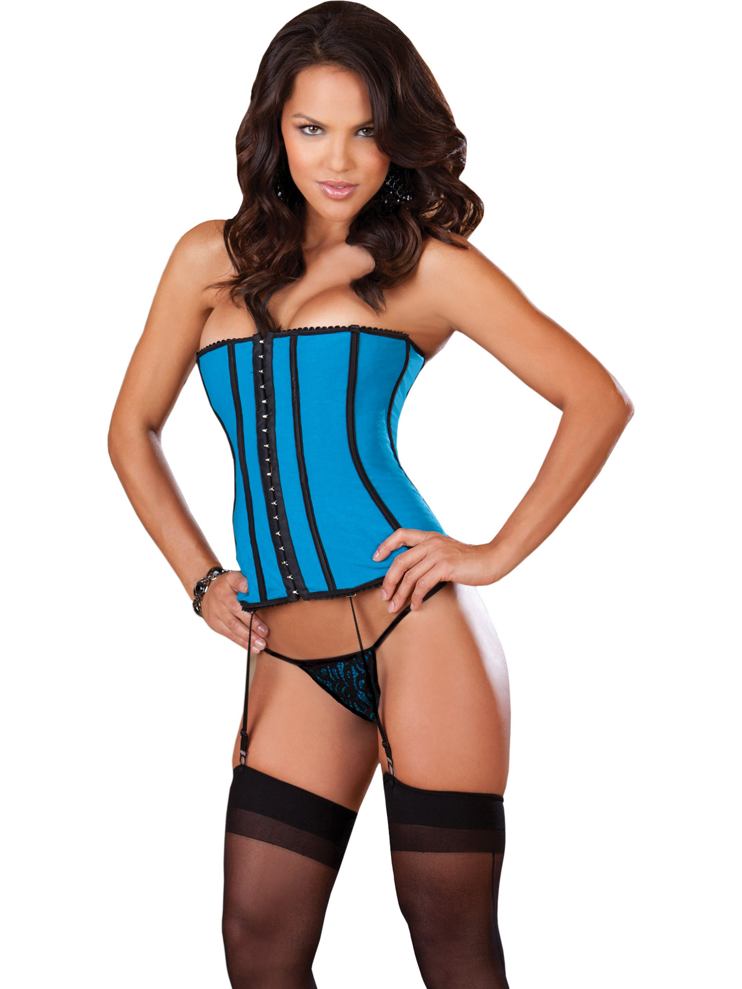 471a1515849 Dreamgirl Int - Sexy Reversible Blue Satin Black Overlay Corset Lace UP  Garters Thong - Walmart.com