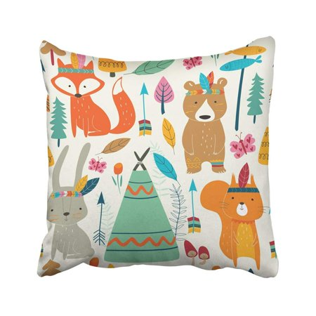 CMFUN Baby Bright Pattern with Cute Woodland Tribal Animals in Cartoon Style Fox Camp Pillow Case Pillow Cover 20x20 inch Throw Pillow Covers - Woodland Fox