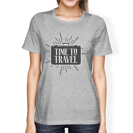 Woman In Light (Time To Travel Womens Gray Round Neck Tee Shirt Lightweight)
